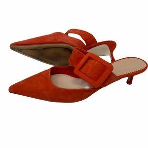 Zara Woman Orange Suede Pointy Toe Heels